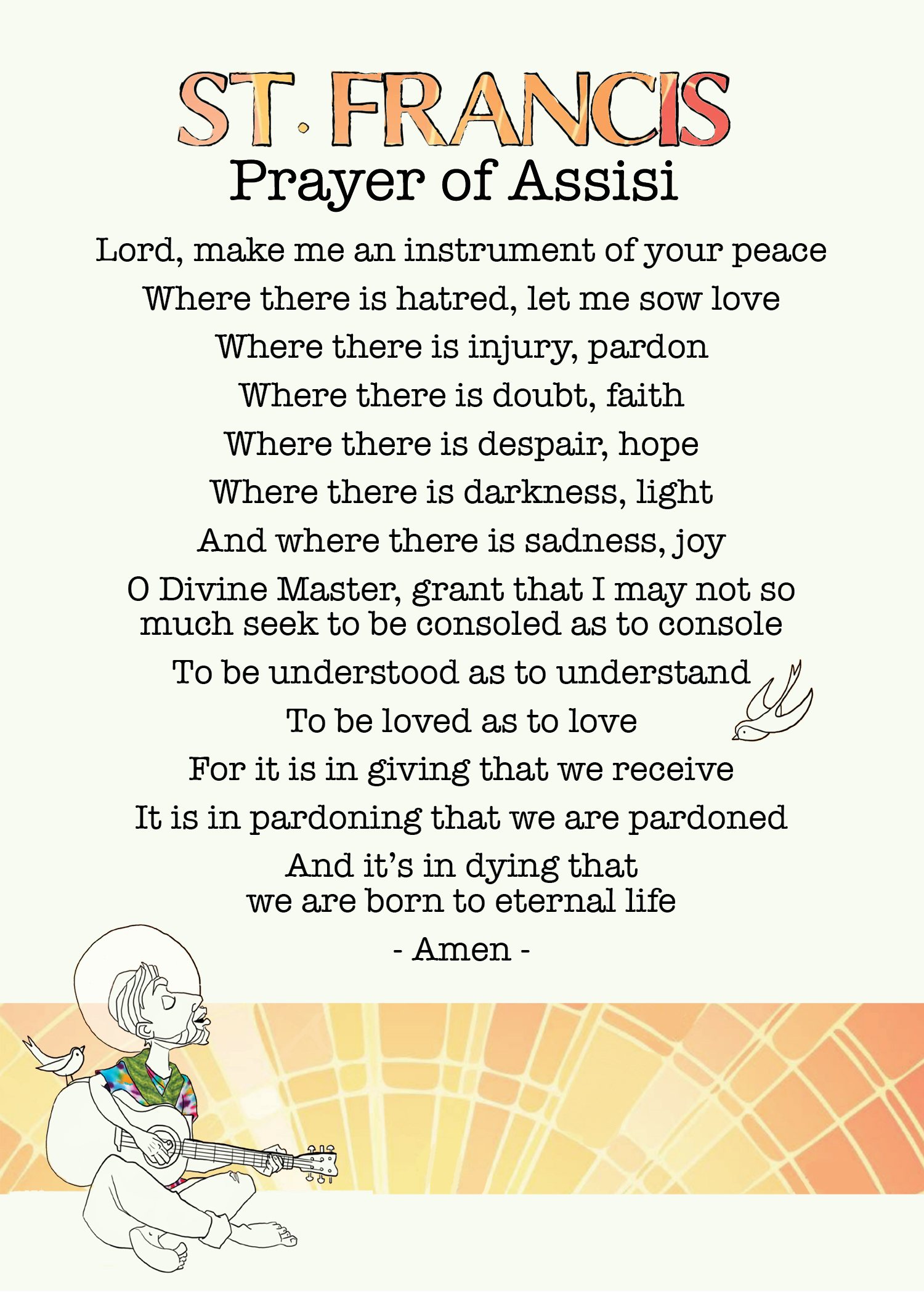 image regarding St Francis Prayer Printable referred to as St. Francis Prayer of Assisi